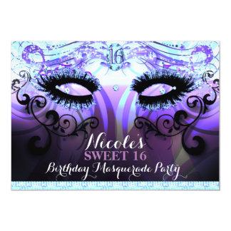 Invitations pourpres de partie de mascarade de