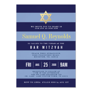 Invitations rayées de Mitzvah de barre d'étoile de