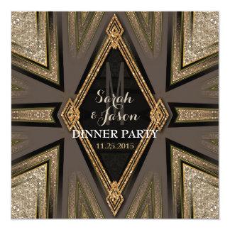 Invitations Romance de dîner de Goldy d'art déco