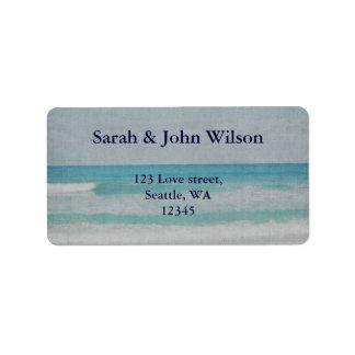 Invitations romantiques de mariage de plage étiquette d'adresse