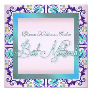 Invitations roses bleues turquoises de bat mitzvah