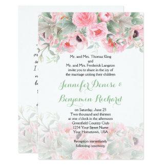 Invitations roses d'anémones de pivoines