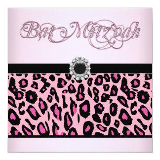 Invitations roses de bat mitzvah de léopard