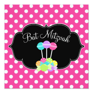 Invitations roses de bat mitzvah de point de polka