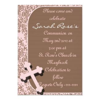 INVITATIONS ROSES DE COMMUNION ET DE CROIX DE