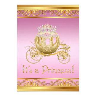 Invitations roses de fantaisie de princesse baby