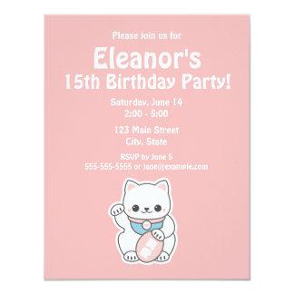 Invitations roses de fête d'anniversaire de Maneki