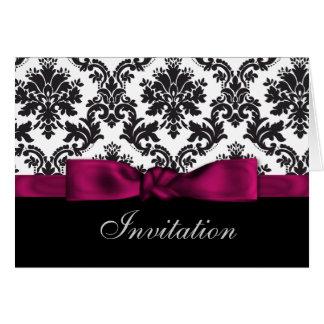 invitations roses de mariage damassé