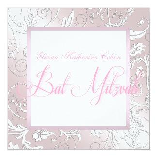 Invitations roses élégantes de bat mitzvah de