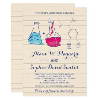 Invitations roses et bleues de mariage de chimie