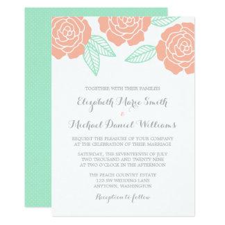Invitations roses modernes de mariage de menthe et