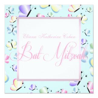 Invitations roses pourpres de bat mitzvah de