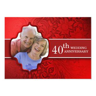 invitations rouges d'anniversaire de photo