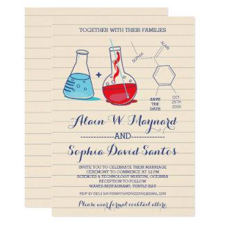 Invitations rouges et bleues de mariage de chimie