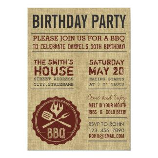 Invitations rustiques de BBQ de fête