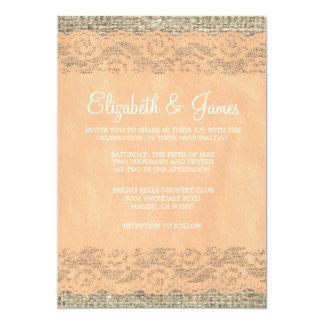 Invitations rustiques de mariage de dentelle de