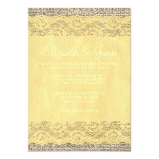 Invitations rustiques de mariage de dentelle d'or
