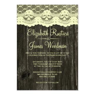 Invitations rustiques de mariage de dentelle et en
