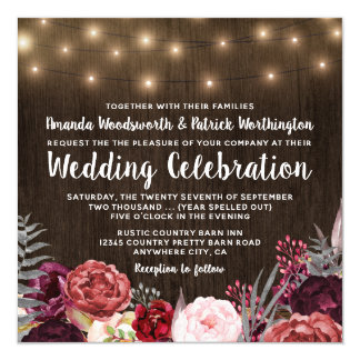 Invitations rustiques de mariage de pivoine de