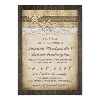 Invitations rustiques vintages de mariage de plage
