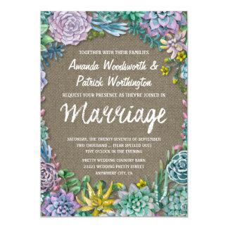 Invitations succulentes et rustiques de mariage de