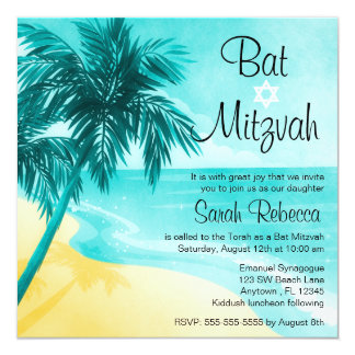Invitations tropicales de bat mitzvah de plage carton d'invitation  13,33 cm