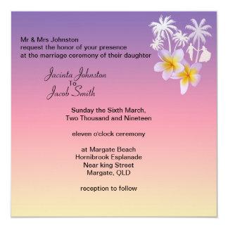 Invitations tropicales de mariage de plage de rose
