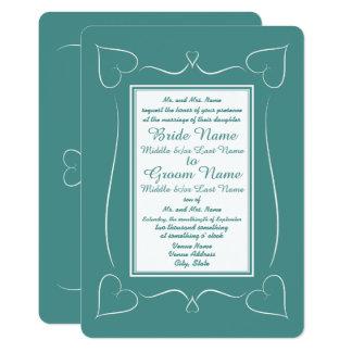 Invitations turquoises formelles de monogramme de
