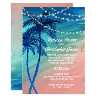 Invitations turquoises tropicales de mariage de