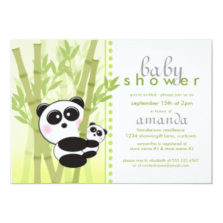 Invitations (vertes) de baby shower de panda