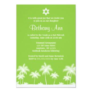Invitations vertes de bat mitzvah de palmiers
