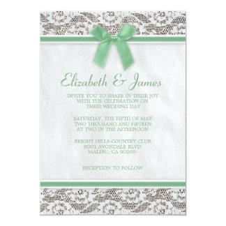 Invitations vertes de mariage de dentelle de pays