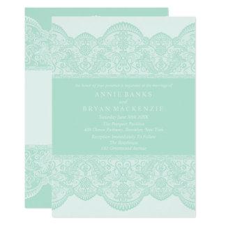Invitations vertes douces de mariage de dentelle