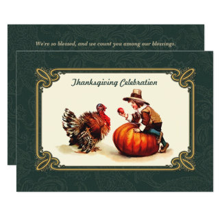 Invitations vintages de dîner de thanksgiving de