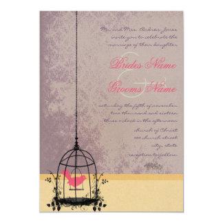 Invitations vintages de mariage d'aubergine de