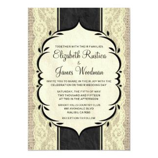 Invitations vintages de mariage de dentelle de