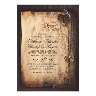 invitations vintages de mariage de fausse clé