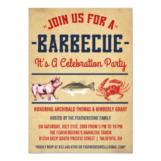 Invitations vintages de partie de barbecue