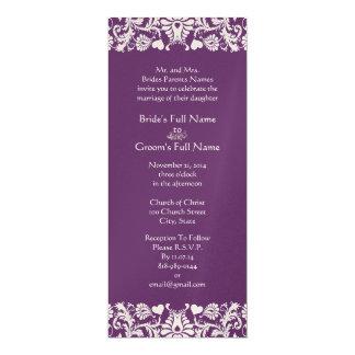 Invitations vintages élégantes de mariage damassé