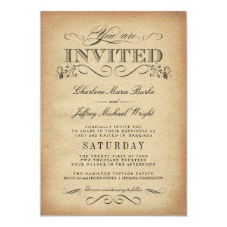 Invitations vintages élégantes de mariage de carton d'invitation  12,7 cm x 17,78 cm