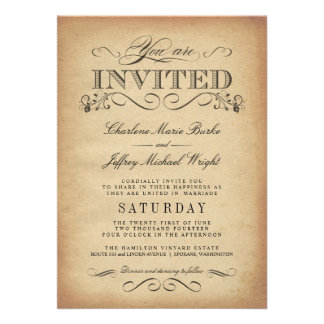 Invitations vintages élégantes de mariage de typog