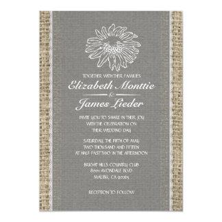 Invitations vintages grises de mariage de dentelle