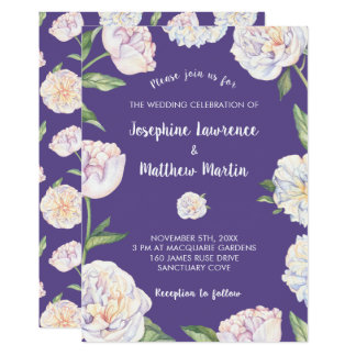 Invitations violettes florales de mariage de Puple