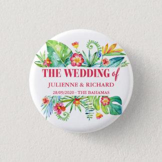 Invités tropicaux de mariage de destination badge rond 2,50 cm