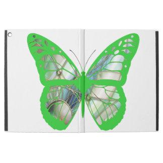 """iPad Pro 12.9"""" Case Cas de papillon en verre souillé de vert de"""