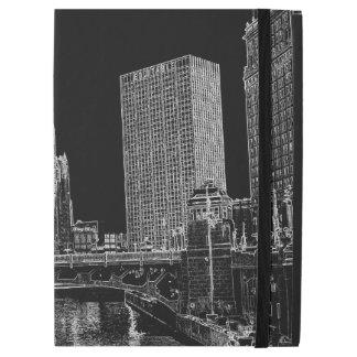"""iPad Pro 12.9"""" Case La rivière Chicago Wrigley 1967 établissant Sun"""