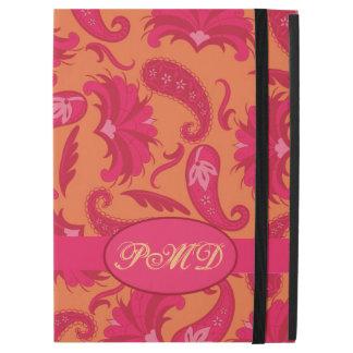 """iPad Pro 12.9"""" Case Monogramme de Paisley d'art déco de rose de rouge"""