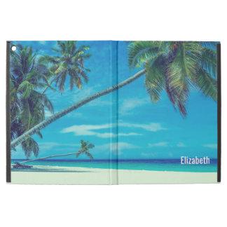 """iPad Pro 12.9"""" Case Plage blanche de Sandy avec les paumes tropicales"""