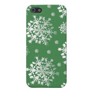 iPhone 5 Case Blanc sur la conception verte de flocon de neige