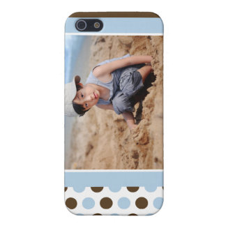 iPhone 5 Case Coutume de photo de Polkadot (bleue)